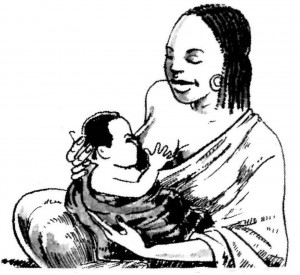 "Illustration from the Introduction of ""Là Où Il n'y a Pas de Docteur"" on the benefits of breastfeeding infants"